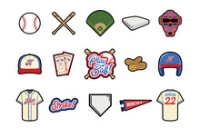 Baseball Vector Icon Set - Color