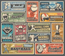 Baseball Sport Retro Posters With Vector Balls, Bats And Players. Basketball Team Sport Game Play League Tournament Trophies Or Champion Cups, Stadium Field With Base And Equipment, Cap, Glove, Jersey