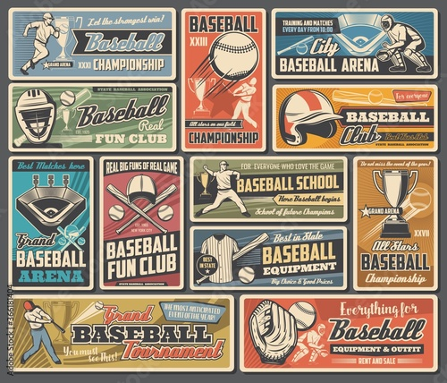 Obraz Baseball sport retro posters with vector balls, bats and players. Basketball team sport game play league tournament trophies or champion cups, stadium field with base and equipment, cap, glove, jersey - fototapety do salonu