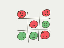 Tictactoe Game Of Happiness And Unhappy Face. Emotion Lifestyle Concept Game. Tic-tac-toc Represent The Balance And Compete Of Happy And Unhappy Time Or Emotion In Life. Life Style Emotion Concept