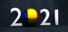 2021 Happy New Year Background For Seasonal Greetings Card Or Christmas Themed Invitations. Flag Of The Romania. 3D Rendering