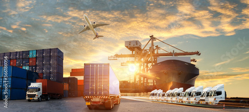 Logistics import export background and transport industry of Container Cargo fre Wallpaper Mural