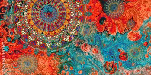 Valokuvatapetti mandala colorful dark eyes vintage art, ancient Indian vedic background design,