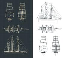 Large Sailing Ship Drawings
