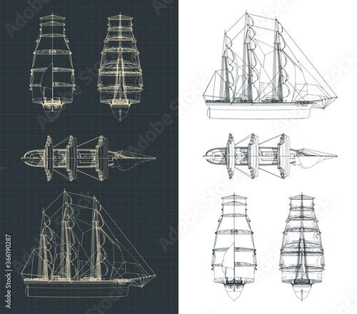 Fotografía Large sailing ship drawings