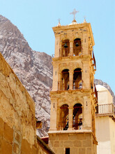 Bell Tower At UNESCO World Heritage Site Of Saint Catherine Monastery At The Foot Of  Mount Sinai On The Sinai Peninsula. Mount Sinai  Is A Possible Location Of The Biblical Mount Sinai