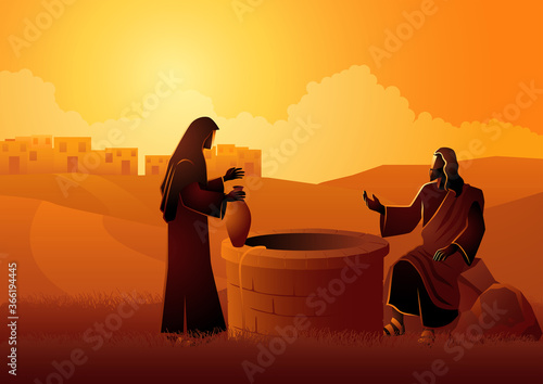 Jesus talking with Samaritan woman at the Jacob's well Fototapeta