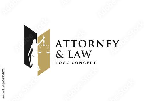 Fotografie, Tablou woman / lady law logo concept.