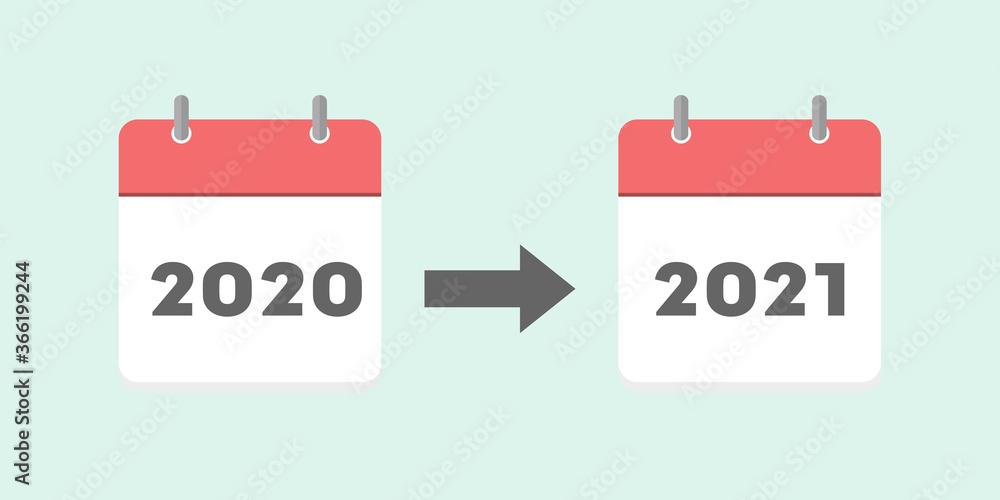 Fototapeta 2020年・2021年のカレンダー: コロナウイルスによるイベントの延期・年末年始イメージ素材