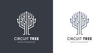 Circuit Tree Tech Logo Template Design. Innovative Digital Technology Concept Business Icon. Vector Illustration.