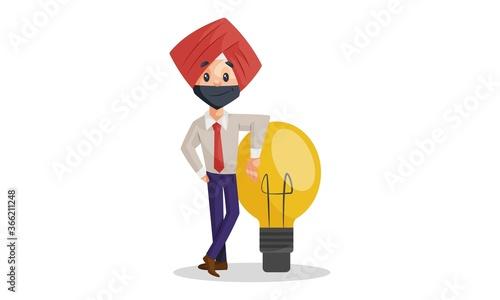 Obraz na plátne Vector graphic illustration of Punjabi businessman with bulb