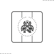 Afghanistan Square Flag, Vector Icon In Outlines