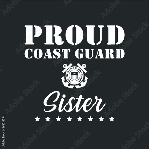 Proud Us Coast Guard Sister Us Military Family Gift new design vector Canvas-taulu