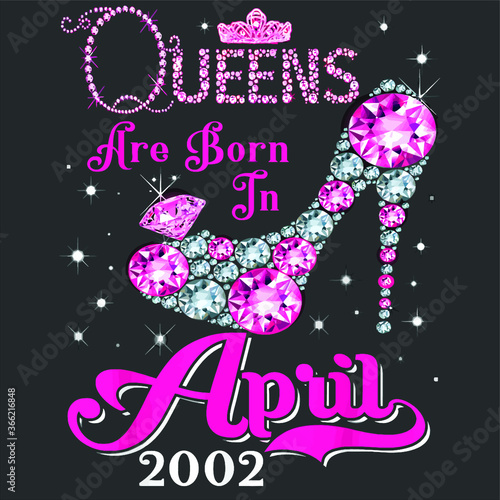Tela Queens Are Born In April 2002 17th Birthday Shirt new design vector