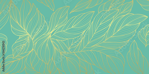 Luxury gold and nature  background vector Canvas Print
