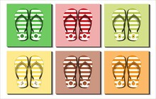 Set Of Various Stripe Flip Flops Sandals. Different Fruit Icon, Pattern. Apple, Avocado, Banana, Coconut, Orange, Watermelon. Flip Flops/sandals Collection. Flat Design. Vector Illustration.