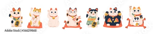 Set of different Japanese lucky cat maneki neko vector illustration Fotobehang