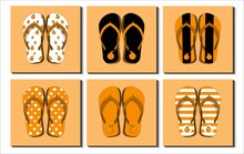 Set Of Colorful Flip Flops, Beach Sandals. Different Orange Fruit Patterns, Stripe, Icon, Etc. Flat Design Vector Illustration.