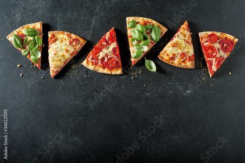 Obraz na plátně Portions of different tasty oven-fired pizzas