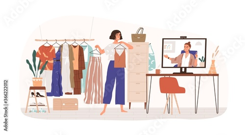 Woman personal stylist consulting client online vector flat illustration. Female demonstrate clothes to computer isolated. Consultation to wardrobe parsing, choosing outfit and sorting apparel