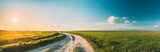 Fototapeta Kawa jest smaczna - Sun Sunshine In Sunset Bright Sky. Beautiful Evening Sky Above Rural Landscape With Country Road. Young Green Wheat Field Meadow And Countryside Road. Agricultural And Weather Forecast Concept