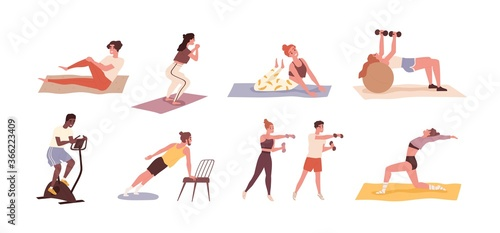 Set of diverse people training with sports equipment vector flat illustration. Collection of man, woman and couples doing exercises with dumbbell, squat, practice yoga and cycling isolated on white - 366223409