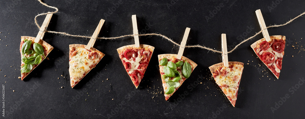 Fototapeta Banner with slices of pizza with sample toppings