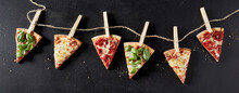 Banner With Slices Of Pizza With Sample Toppings