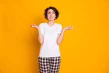 Portrait Of Frustrated Furious Girl Cant Sleep Night Because Neighbors Noise Look Up Copy Space Feel Furious Hold Hands Wear Pyjama Isolated Over Bright Color Background