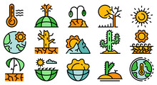Drought Icons Set. Outline Set Of Drought Vector Icons Thin Line Color Flat On White