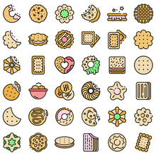 Cookie Icons Set. Outline Set Of Cookie Vector Icons Thin Line Color Flat On White