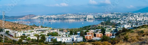 Gumbet coastline view from hill in Bodrum Town Canvas Print