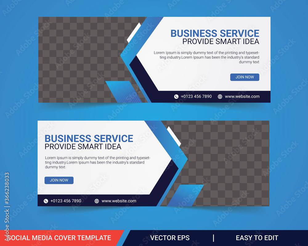 Fototapeta Business facebook cover, Corporate facebook timeline cover template design, Template banner design for social network