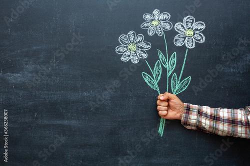 Fototapeta A man's hand holds flowers drawn in chalk on a chalkboard obraz na płótnie
