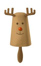 Cute Chocolate Deer With Red N...