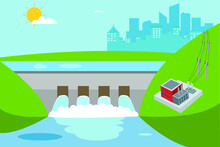 Water Power Plant Vector Concept: Overflowing Dam Creating Reservoirs And Generating Electricity To The City
