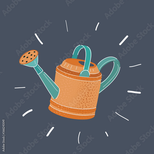 Foto Vector illustration of watering can isolated on dark.