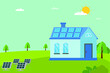 Solar powered house vector concept: solar panels generating electricity to the house