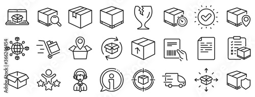 Set of Truck Delivery, Box and Checklist icons Fototapet