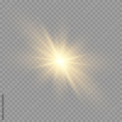 Fototapety, obrazy: Yellow sun with rays and glow on transparent