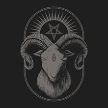 Satanic Goat Vector Illustration