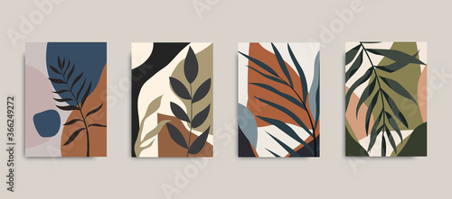 Obraz Set of posters with elements of tropical leaves and abstract shapes, modern graphic design. Can be used for social media, poster, cover, invitation, brochure, wall print. Vector EPS 10. - fototapety do salonu