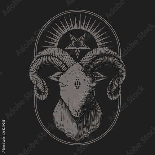 Satanic Goat vector illustration Tableau sur Toile