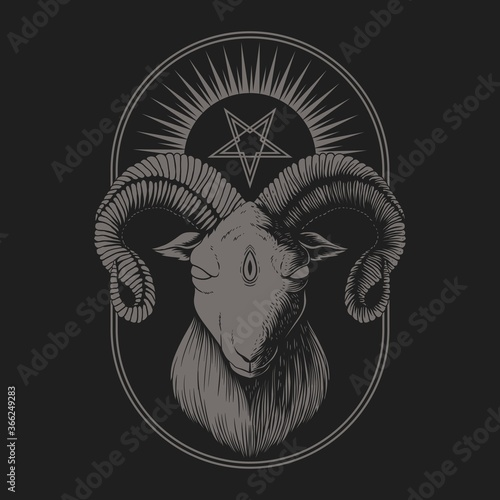 Fotografia, Obraz Satanic Goat vector illustration