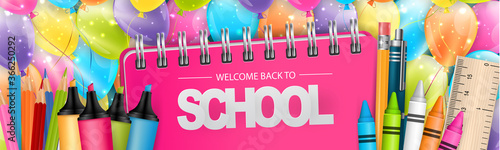 Welcome back to school banner or website header with realistic education supplies. Vector illustration.