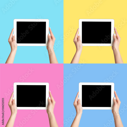 Collage with female hands holding tablet computers on color background, mockup f Billede på lærred