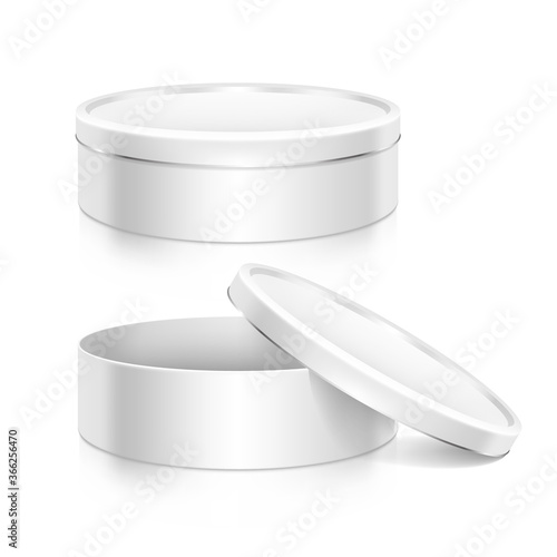 Canvas Cookie tin boxes set mock-up template. Open and closed boxes.