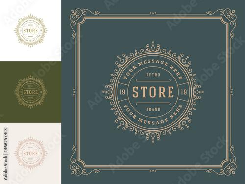Vintage logo template vector golden elegant flourishes ornaments.