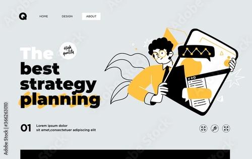Fotografija Presentation slide template or landing page website design
