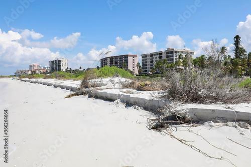 Canvas Print Beach erosion at the surf's edge on Fort Myers Beach, Florida, USA